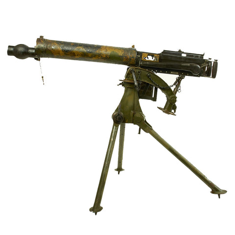 Original British WWII Vickers Camouflage Display Machine Gun with Tripod and Accessories Original Items