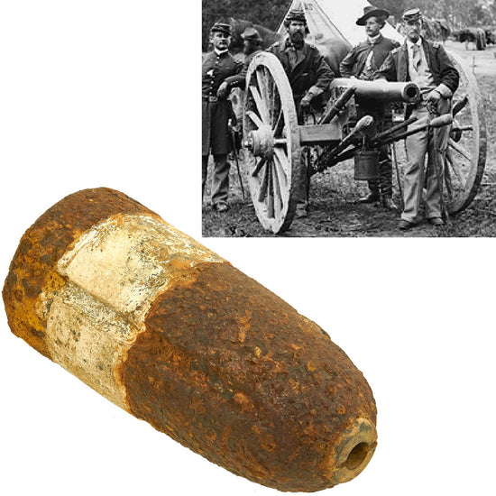 Original U.S. Civil War Hotchkiss 3-inch Shell with Lead Band Sabot for M1861 Ordnance Rifle - Excavated in Fredericksburg Virginia Original Items