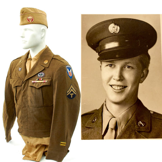 Original U.S. WWII 127th Airborne Engineer Battalion 11th Airborne Named Uniform Grouping Original Items