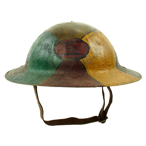 "Original U.S. WWI M1917 30th Division Doughboy Helmet with Trench Art Panel Camouflage Paint - ""Old Hickory"" Original Items"