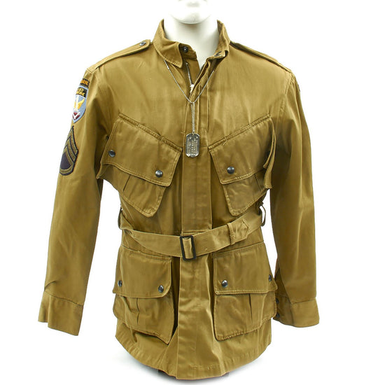 Original U.S. WWII 13th Airborne M1942 Paratrooper Jacket Identified with Dog Tag Original Items