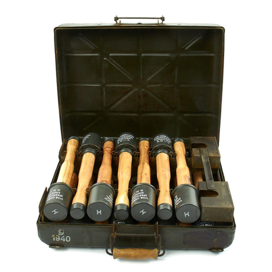 Original German WWII 1940 M24 Stick Grenade Case with Internal Rack and Grenades