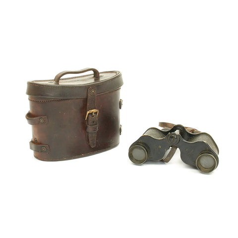 Original British WWI Army Issue 6X Binoculars in Leather Case - Dated 1916