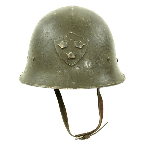 Original Swedish WWII Era M21 High Top Steel Helmet with Liner and Chinstrap Original Items