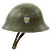 show larger image of product view 6 : Original Swedish WWII Era M21 High Top Steel Helmet with Liner and Chinstrap Original Items
