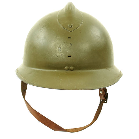 Original WWII French M1926 Adrian Helmet without Badge - Olive Green Original Items