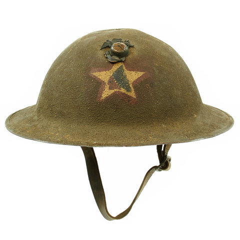 Original WWI U.S. Marine Corps 1st Battalion 5th Marines M1917 Doughboy Helmet with Textured Paint - 2nd Division Original Items