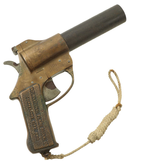 Original U.S. WWII International Flare Signal Company Brass-Framed Pistol with Lanyard - Dated Sep. 1943 Original Items