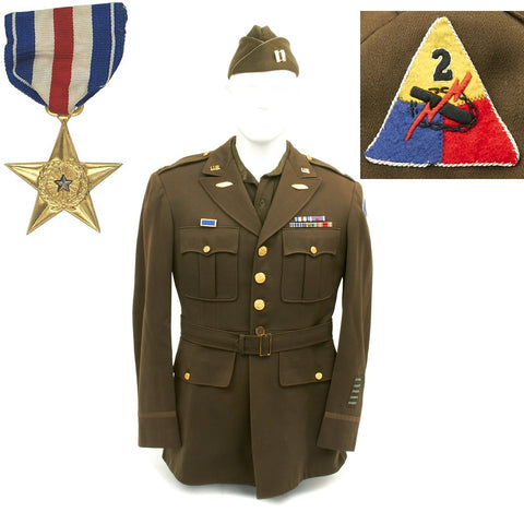 Original U.S. WWII 2nd Armored Division Silver Star Recipient Named Grouping Original Items