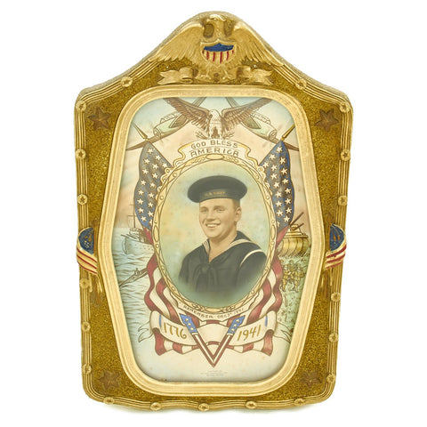 Original WWII U.S. Navy Sailor Remember Pearl Harbor Color Portrait in Bubble Glass Frame Original Items