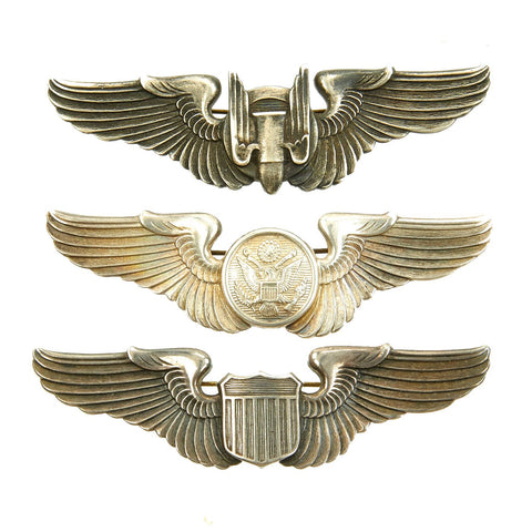 "Original U.S. WWII Army Air Force USAAF Set of 3 Aviator ""Bell Pattern"" Wings - Sterling Silver Original Items"