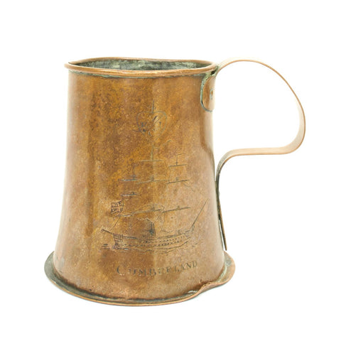 Original British Pre-1808 East India Company Engraved Copper Tankard Marked Cumberland