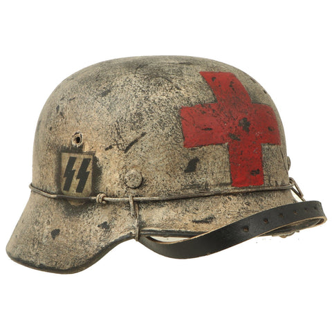 Original German WWII Refurbished M40 SS Battle of Leningrad Winter Medic Sanität Helmet - Size 66 Shell Original Items