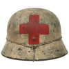 show larger image of product view 5 : Original German WWII Refurbished M40 SS Battle of Leningrad Winter Medic Sanität Helmet - Size 66 Shell Original Items