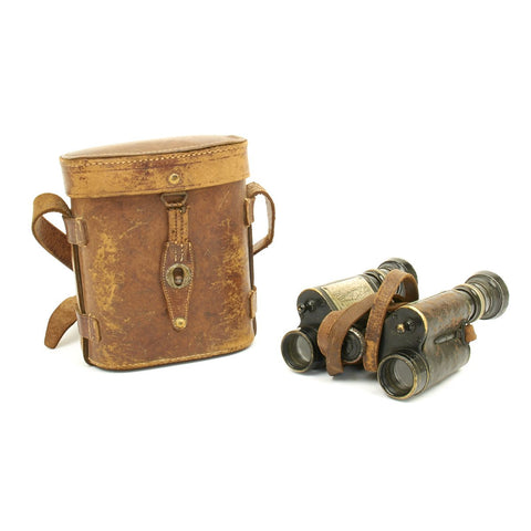 Original French WWI Military Binoculars with attached Ranging Tables in Case - circa 1915