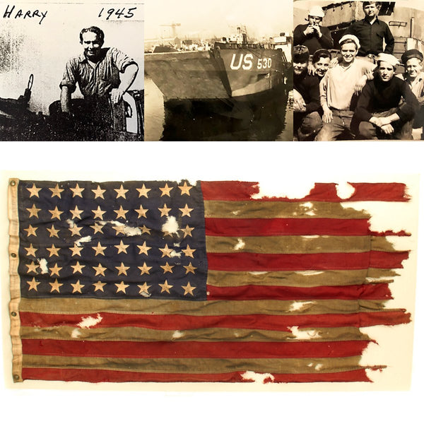 Original U S  WWII D-Day Utah Beach LCT 530 American Flag with Notarized  Letter of Authenticity