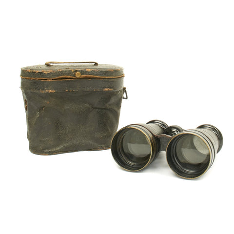 Original British WWI Officer Army & Navy 12x Field Glasses with Leather Case