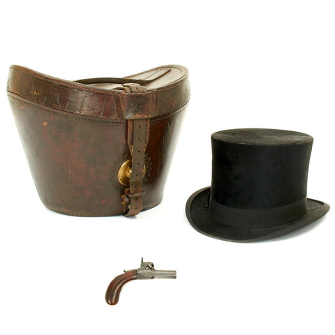 Original English Victorian Beaver Fur Top Hat with Concealed Percussion Pistol by Lancaster
