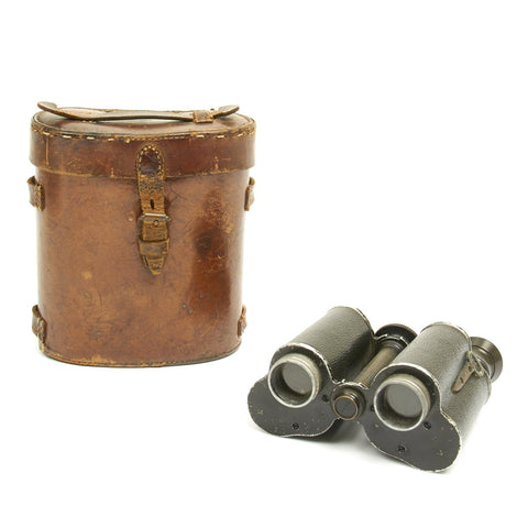 Original British WWI Officer's 8X Binoculars in Leather Case dated 1916