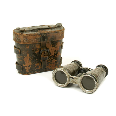 Original German WWI Officer Field Glasses in Late War Black Leather Case