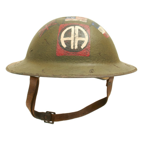 Original U.S. WWI M1917 Refurbished Camouflage Named Helmet 82nd Division - All American