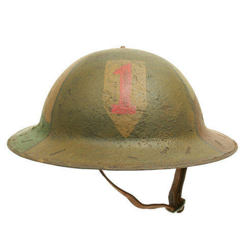 Original U.S. WWI M1917 Refurbished Helmet of the 1st Infantry Division - The Big Red One