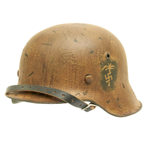 Original German WWII Refurbished M42 Deutsches Afrikakorp DAK Helmet with Painted Palm - Stamped hkp64