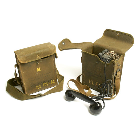 Original U.S. WWII Era Army Field Telephone Model EE-8 with Canvas Carry Case - Set of 2