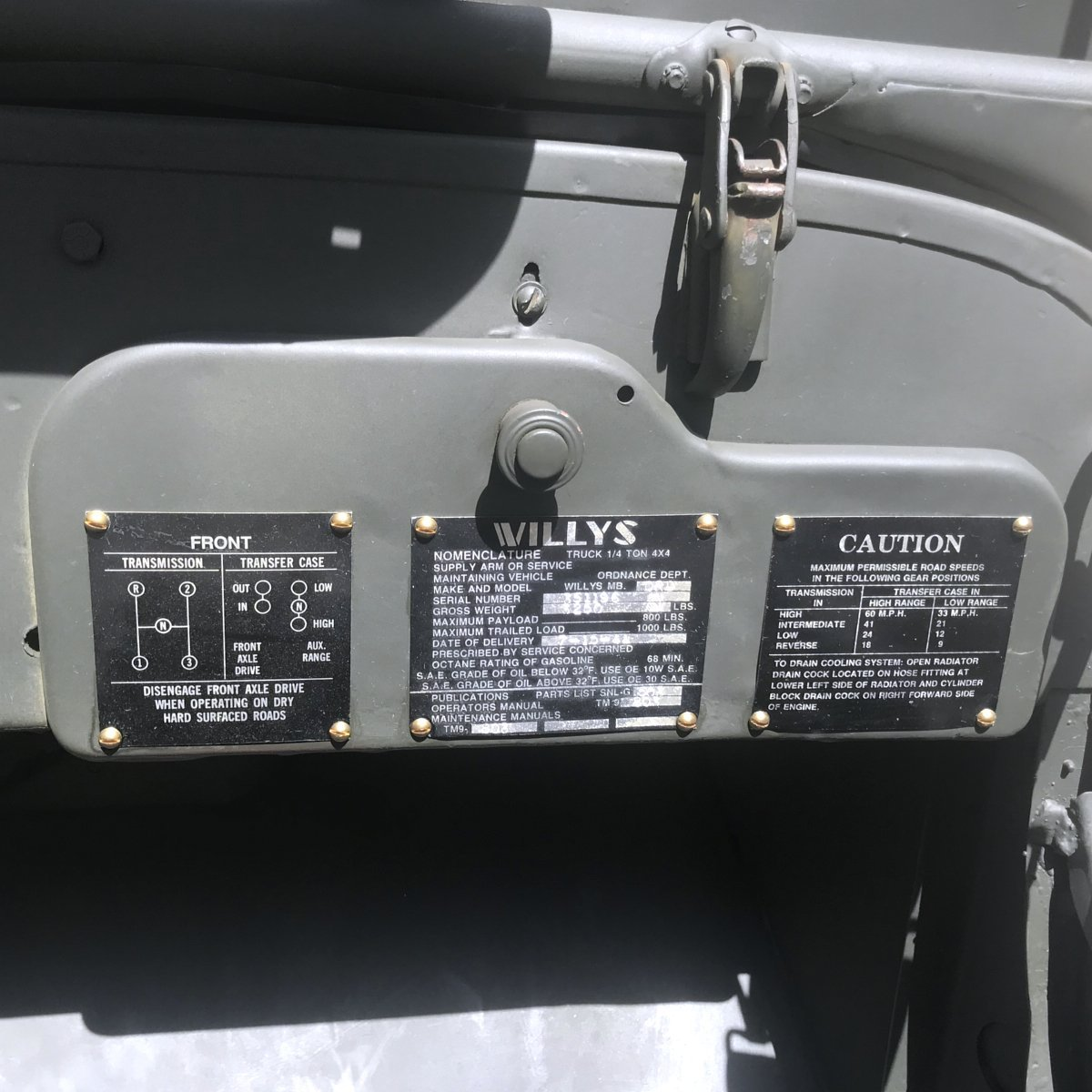 Original Us Wwii 1944 Willys Mb Jeep With Correct Serial Numbers Number Location Fully Restored