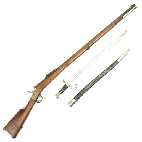 Original Danish M1867/96 Remington Rolling Block Military Rifle with Saber Bayonet and Scabbard - Serial 63708