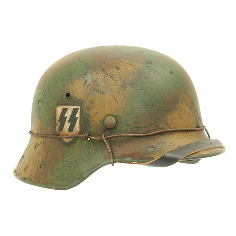 Original German WWII M35 Double Decal Normandy SS Refurbished Helmet - Stamped SE64