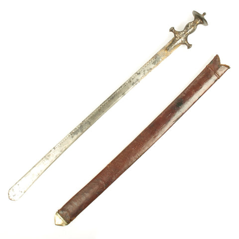 Original Indian 19th Century Straight Blade Tulwar Sword with Gold/Silver Inlaid Hilt and Blade in Leather Scabbard