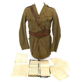 Original British WWI 15th Sherwood Foresters Named Officer Uniform with Trench Notebooks and Research