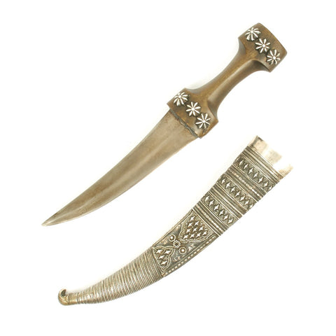 Original 19th Century Persian Jambiya Damascus Steel Blade Dagger with Embossed Silver Clad Scabbard c.1820