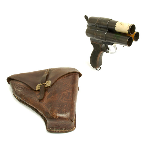 Original Japanese WWII Imperial Navy Three Barrel Flare Signal Pistol with Leather Holster
