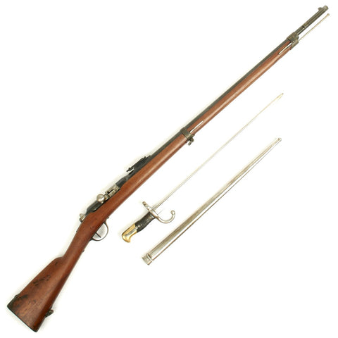 Original French Fusil Gras Mle 1874 M80 Infantry Rifle by Châtellerault with Bayonet and Scabbard - Dated 1876