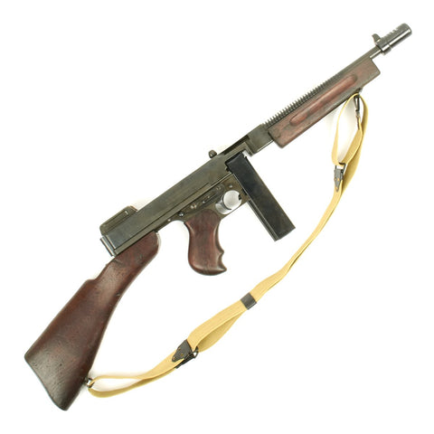Original U.S. WWII Thompson M1928A1 Display Submachine Gun with Sling - Original WW2 Parts