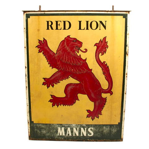 Original British WWII Red Lion MANNS Pub Sign - 48 x 36 Inches