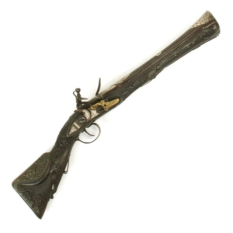 Original Ottoman Flintlock Blunderbuss Pistol with Fully Carved Stock and Silver Inlay - circa 1800