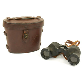 Original U.S. WWII M3 6x30 Binoculars by Westinghouse with M17 Leather Case - Dated 1942