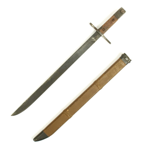 Original Japanese Late WWII Arisaka Type 30 Last Ditch Bayonet with Wood Scabbard by Jinsen Arsenal in Korea