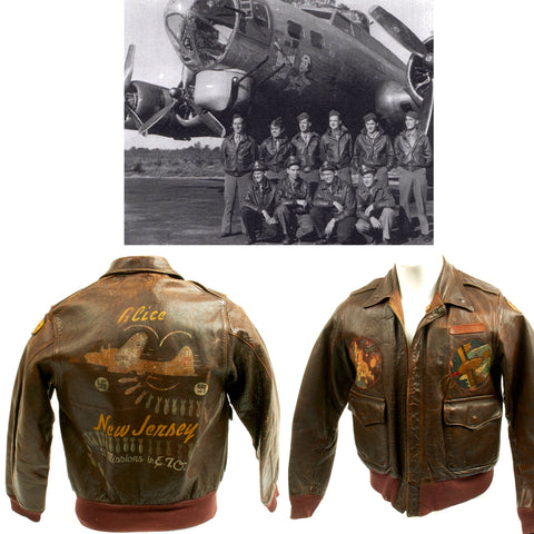 Original U.S. WWII B-17 Mary Lou 91st Bomb Group Named 35 Mission A-2 Flight Jacket