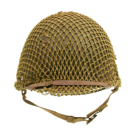Original U.S. WWII M1 McCord Fixed Bale Front Seam Named Helmet with BiColor Camouflage Net MSA Liner