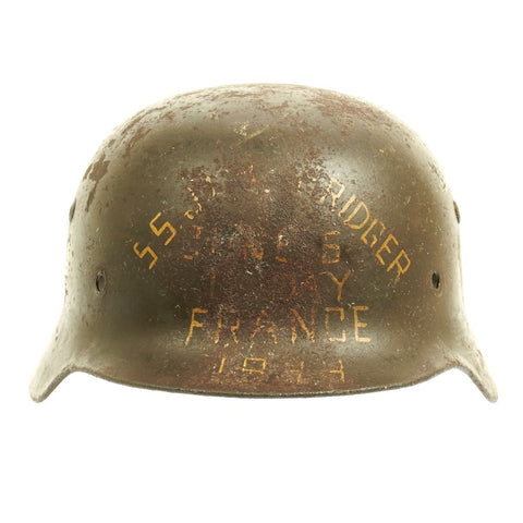 Original German WWII M35 Single Decal Helmet D-Day Utah Beach SS Jim Bridger