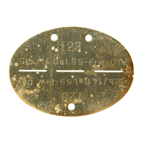 Original German WWII SS Identity Disc Dog Tag - 14th Waffen Grenadier 1st SS Galician Division