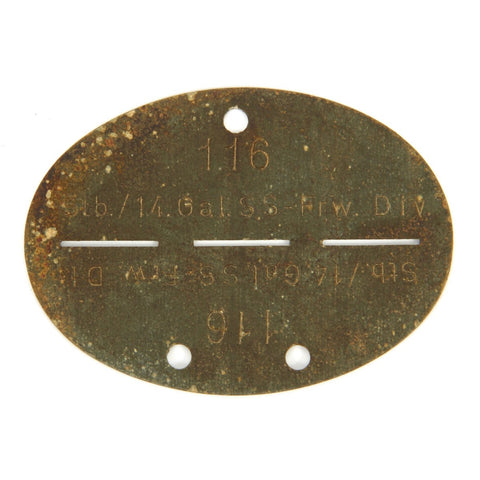 Original German WWII SS Identity Disc Dog Tag - 14th Waffen Grenadier 1st SS Galician Division - No. 116