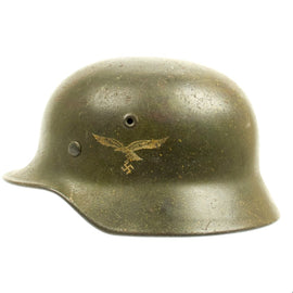 Original German WWII Subtle Normandy Camouflage M40 Luftwaffe Singel Decal Helmet - Q64