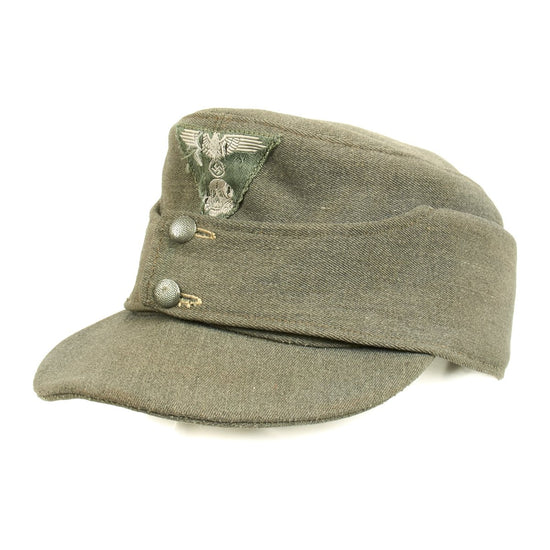 Original German WWII Late War Waffen-SS M43 Field Cap Constructed of Italian Gabardine Original Items