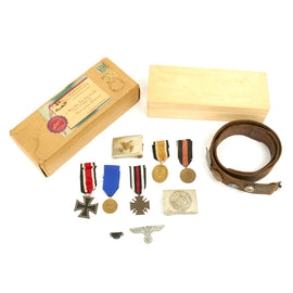 Original German WWII USGI Bring Back Grouping in Chocolate Box - Medals, Badges, Buckels