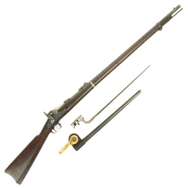 Original U.S. Springfield Trapdoor Model 1873 Rifle made in 1882 with Bayonet and Scabbard - Serial No 162215